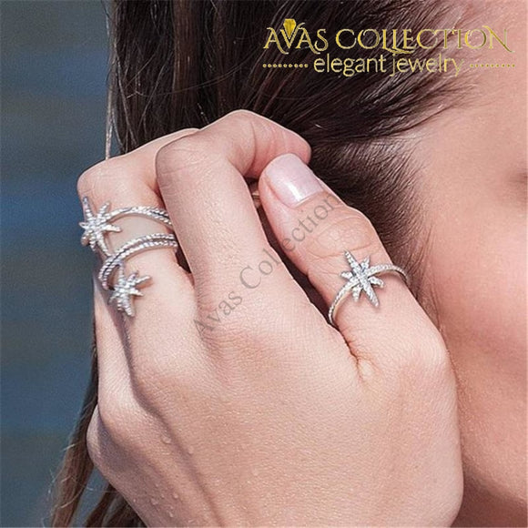 Romantic Star Promise Ring White Gold Filled Micro Pave Rings