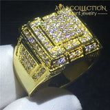 Male Hiphop Ring Pave Setting 14K Yellow Gold Filled Rings