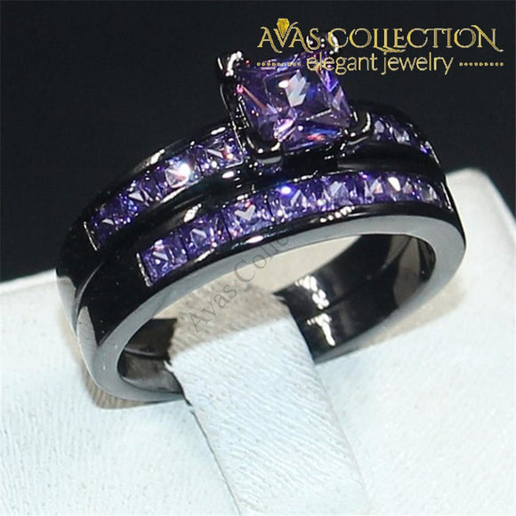 Princess Cut 10Kt Black Gold Filled Purple Birthstone Wedding Band Ring Set Rings