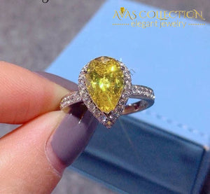 Yellow Water Drop Promise Ring  2ct / Pear cut - Avas Collection