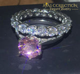 3 ct Pink Solitaire Wedding Ring Set - Avas Collection
