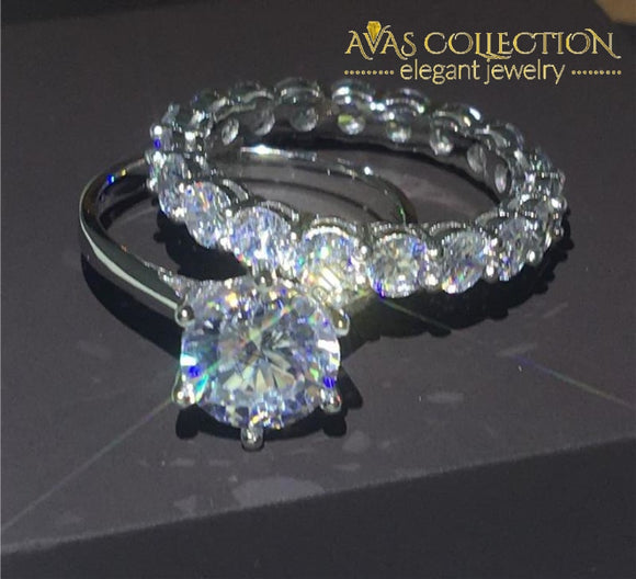 3ct Round Solitaire Wedding Ring Set - Avas Collection