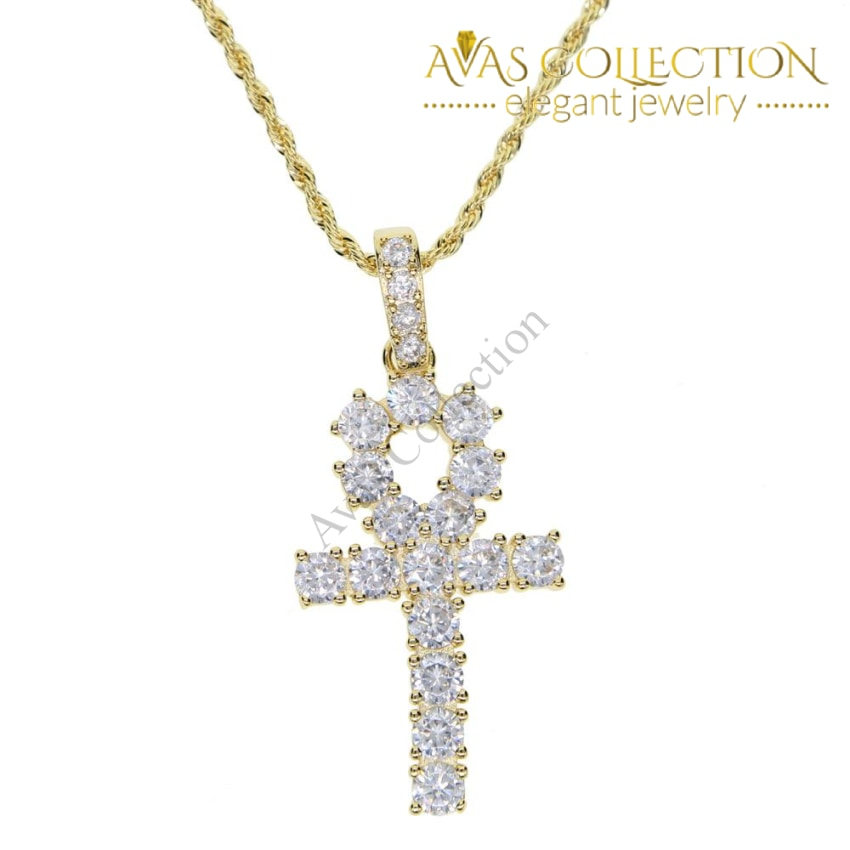 61fc52e3c5c19 ... Classic Mens Gold Iced Out Crystal 1 Row Tennis Chain / Rope Hip Hop  Necklace Color ...