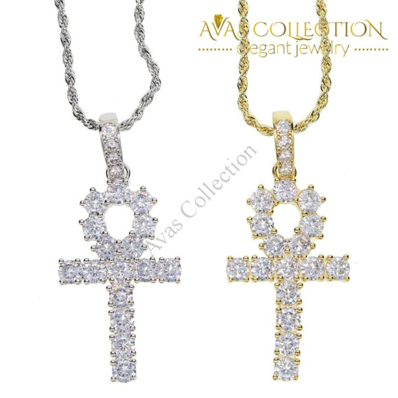 Classic Mens Gold Iced Out Crystal 1 Row Tennis Chain / Rope Hip Hop Necklace Color Men Cross