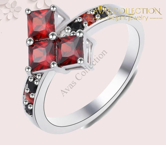 Red Poker Shape Joker Ring - Avas Collection