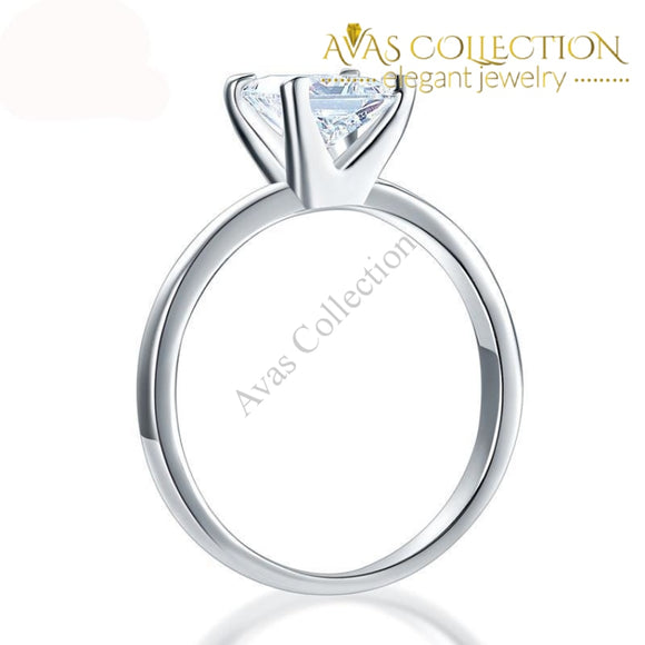 1 Ct Princess Cut Solid 925 Silver Solitaire  Engagement Ring / High Polished - Avas Collection