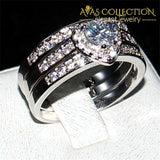 3 In 1 Heart Engagement Ring Set Rings