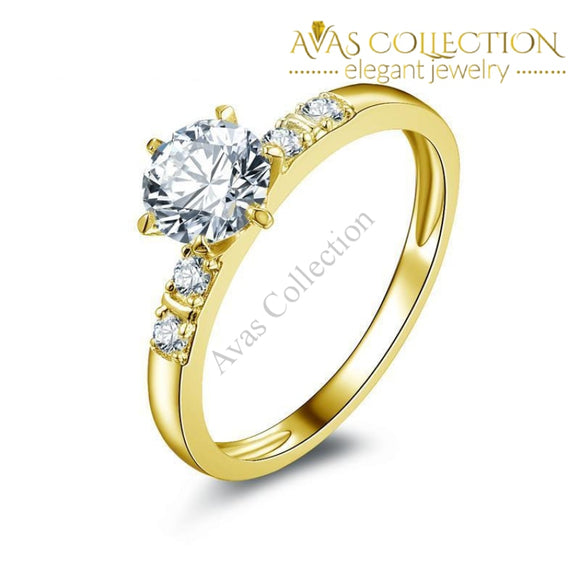 0.8 Ct Round Cut 10Kt Solid Yellow Gold Rings