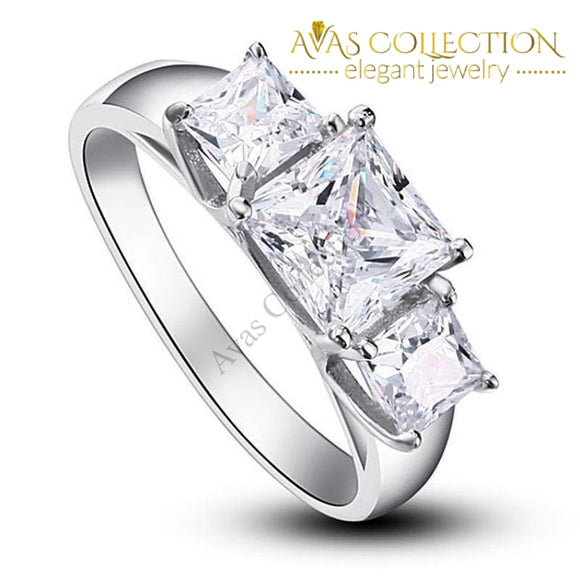 Three-Stones Solid 925 Sterling Silver Engagement Ring/ High Polished - Avas Collection