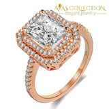 Rose Gold & 925 Sterling Silver Engagement Ring - Avas Collection