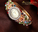 Luxury Flower Pattern Wristwatch Womens Watches