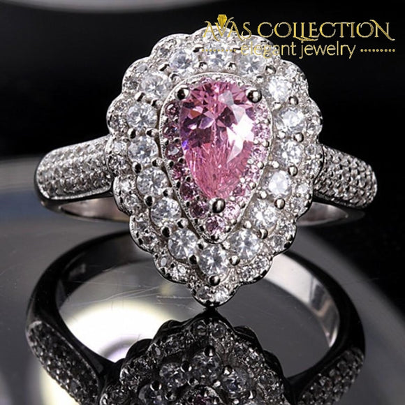 Luxury  3 style Rings/ Pink Pear Cut/ Clear/ Pink - Avas Collection