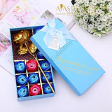 24K Gold Rose Flower+12Pcs Soap Flower Artificial & Dried Flowers