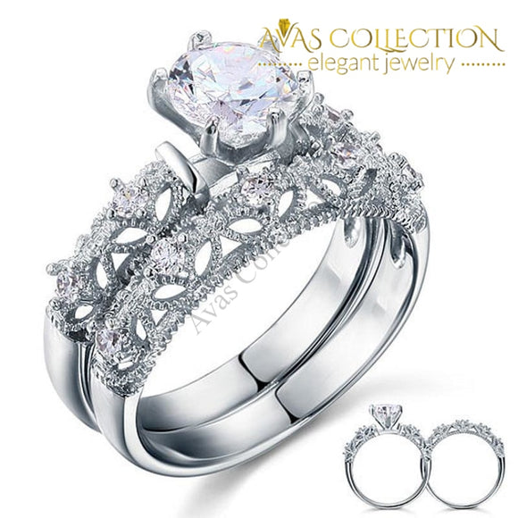 Vintage Style 1.25 Ct 2-Pc Wedding Ring Set Rings