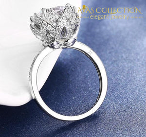 Lotus Flower Engagement Ring Rings