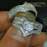 10Kt White Gold Filled Wedding Ring Set 2 In 1 Rings