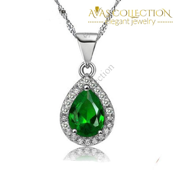 Green Water Drop Pendant Necklace Necklaces