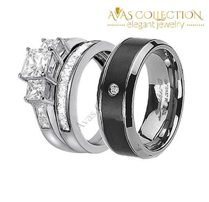 Matching Wedding Couple Ring Set Rings
