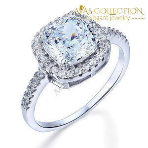 3 Carat Cushion Cut Solid 925 Sterling Silver Engagement Ring - Avas Collection