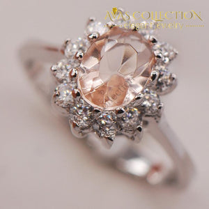 Simulated Morganite Women 925 Sterling Silver Ring - Avas Collection