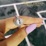 Solid 925 Sterling Silver Oval Ring Set Simulated Diamonds Rings