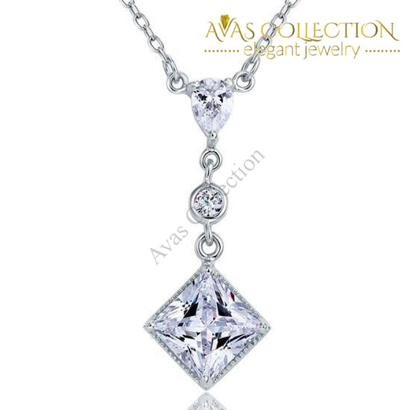 2 Carat Princess Cut Dangle 925 Sterling Silver Pendant Necklace - Avas Collection