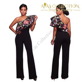 Summer Fashion Jumpsuit Elegant One Shoulder Embroidered Flower - Avas Collection