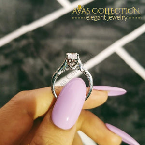 Solid Real 925 Sterling Silver Promise Ring Engagement Simulated Diamonds Rings