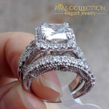 2.8 Ct Princess Cut Solid 925 Sterling Silver/ High Polished - Avas Collection