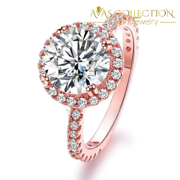 Rose Gold Finish/ Silver Promise Ring/ Engagement Ring - Avas Collection