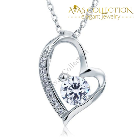 1 Carat Simulated Diamond Heart 925 Sterling Silver Pendant Necklace - Avas Collection