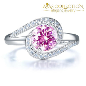 Twist Curl 925 Sterling Silver Wedding Engagement Ring 1.25 Ct Fancy Pink Simulated Diamond