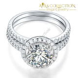 925 Sterling Silver Wedding Halo Ring Set 2 Carat Simulated Diamond - Avas Collection
