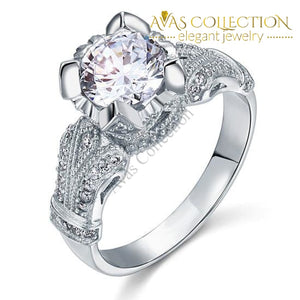 Vintage Victorian Style 2 Carat Simulated Diamond 925 Sterling Silver Wedding Engagement Ring - Avas Collection