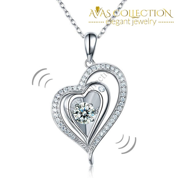 Dancing Stone Heart Necklace 925 Sterling Silver Good For Wedding Bridesmaid Gift