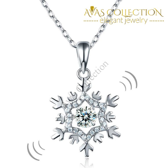 Dancing Stone Snowflake Pendant Necklace Solid 925 Sterling Silver Good For Bridal Bridesmaid Gift
