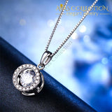 Dancing Stone 1 Carat Pendant Necklace Solid 925 Sterling Silver Good For Wedding Bridesmaid Gift