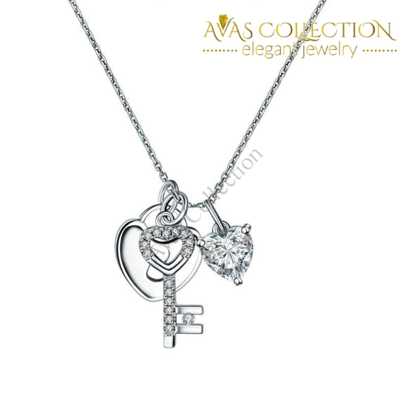 Love Heart Lock Key 925 Sterling Silver Pendant Necklace 1.5 Carat Simulated Diamond