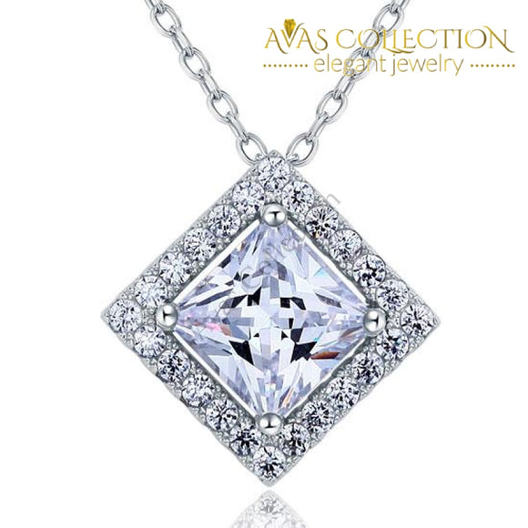1 Carat Princess Cut Simulated Diamond 925 Sterling Silver Pendant Necklace - Avas Collection