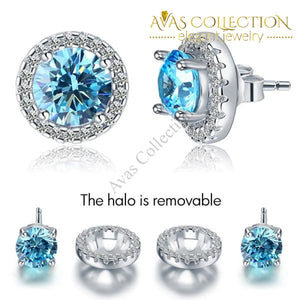 2.5 Carat Round Aqua Blue Halo (Removable) Stud Solid 925 Sterling Silver Earrings Jewelry