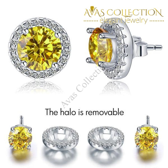 2.5 Carat Round Fancy Yellow Halo (Removable) Stud Solid 925 Sterling Silver Earrings