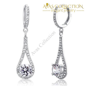 1 Carat Simulated Diamond Round Cut 925 Sterling Silver  Dangle Earrings Jewelry - Avas Collection