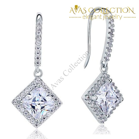 3 Carat Simulated Princess Cut Diamond Dangle Drop Sterling 925 Silver Earrings