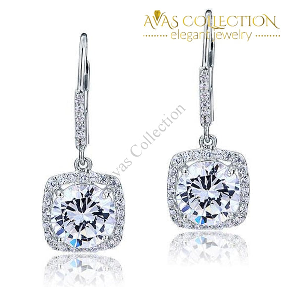 925 Sterling Silver Bridal Wedding Earrings Brilliant Simulated Diamond - Avas Collection