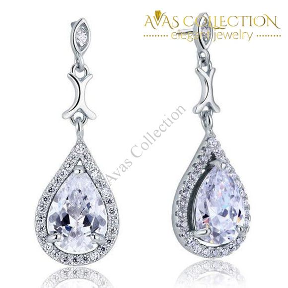 Pear Cut Simulated Diamond Vintage Dangle 925 Sterling Silver Earrings