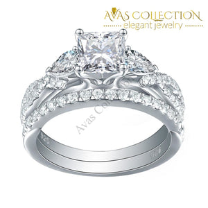 2.3 Ct Princess Cut Solid 925 Sterling Silver Bridal Set - Avas Collection