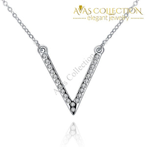 Swarovski Crystal 18K White Gold Plated V Pave Necklace