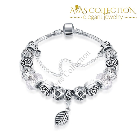 Petite Ivory Cream Leaf Branch Pandora Inspired Bracelet Made With Swarovski Elements