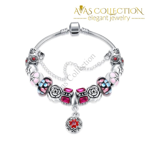 Purple Passion Petite Emblem Pandora Inspired Bracelet Made with Swarovski Elements - Avas Collection