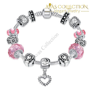Rose Quartz Pandora Inspired Bracelet Made with Swarovski Elements - Avas Collection
